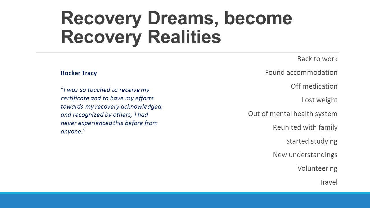 Recovery Dreams, become Recovery Realities