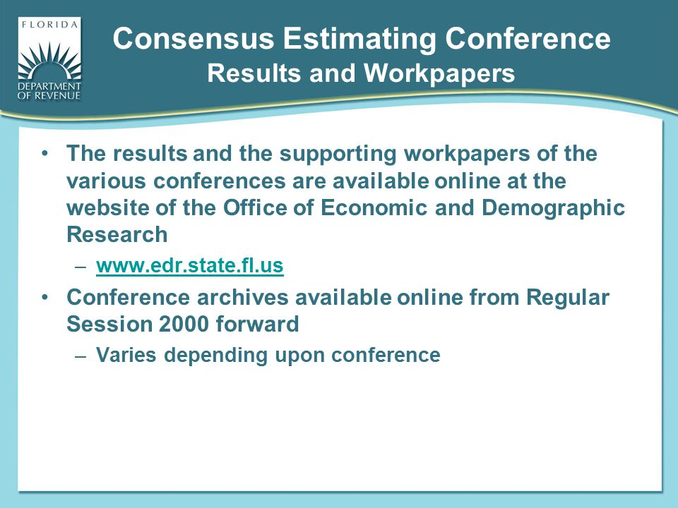 Consensus Estimating Conference Results and Workpapers