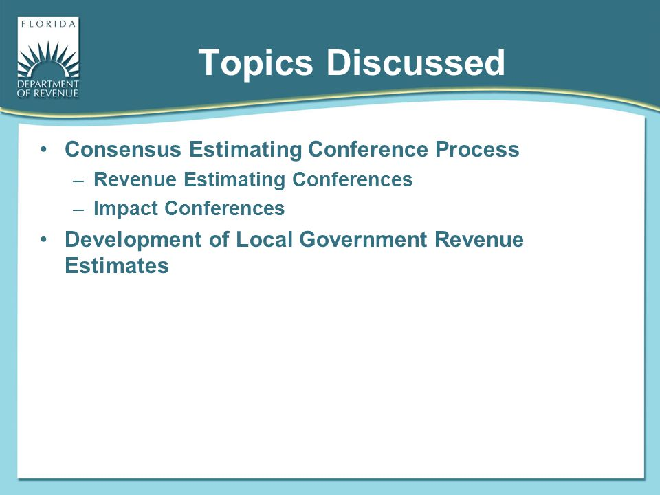 Topics Discussed Consensus Estimating Conference Process