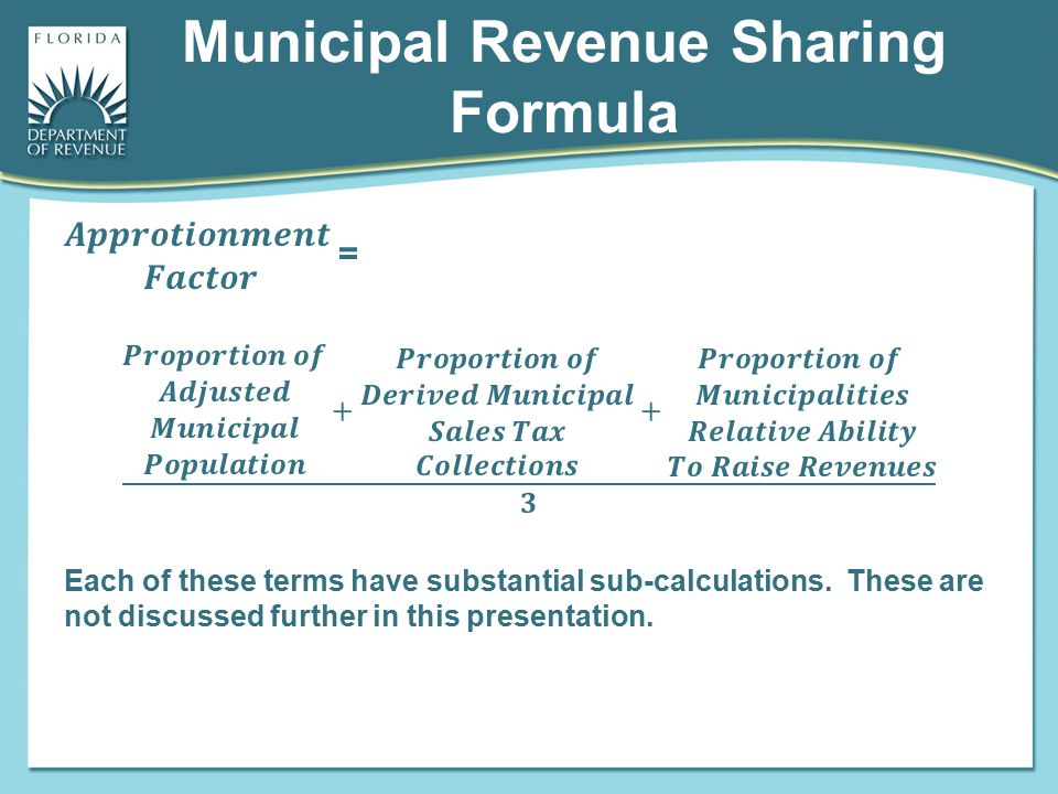 Municipal Revenue Sharing Formula