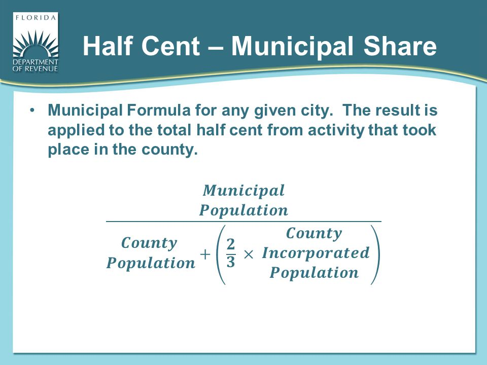 Half Cent – Municipal Share