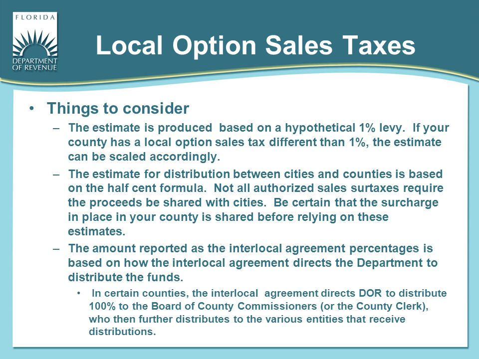 Local Option Sales Taxes