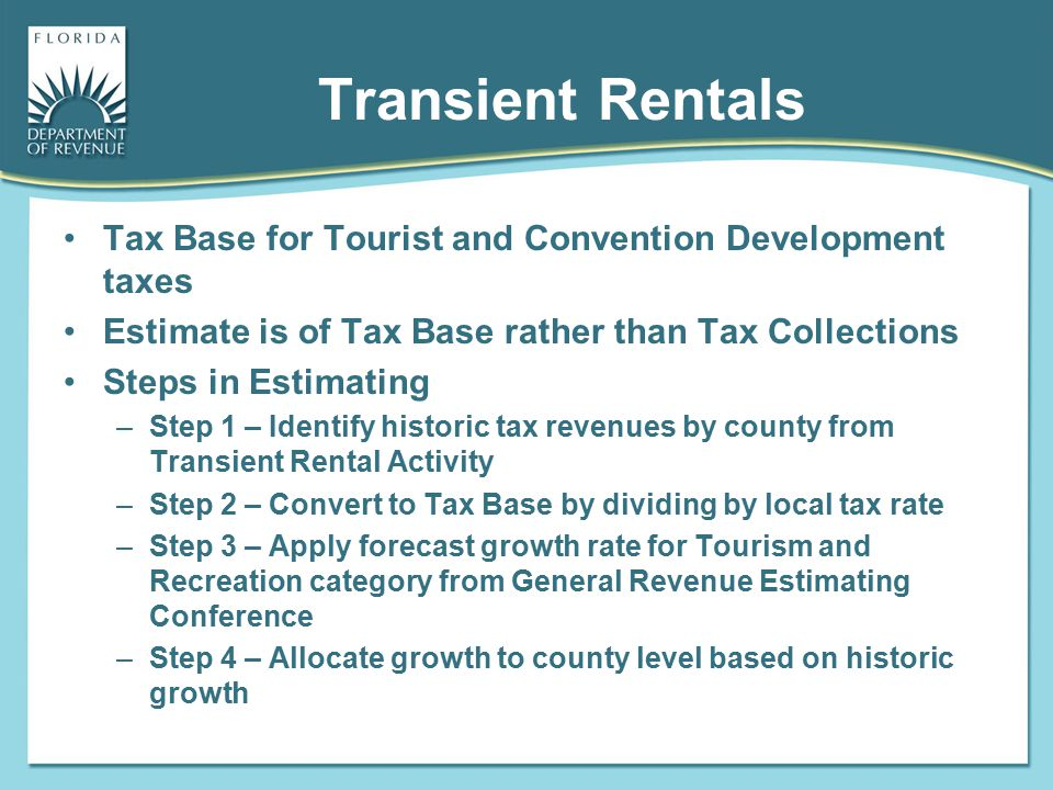 Transient Rentals Tax Base for Tourist and Convention Development taxes. Estimate is of Tax Base rather than Tax Collections.
