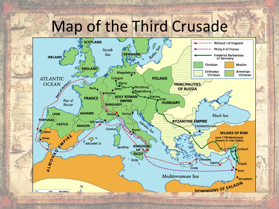 Map of the Third Crusade