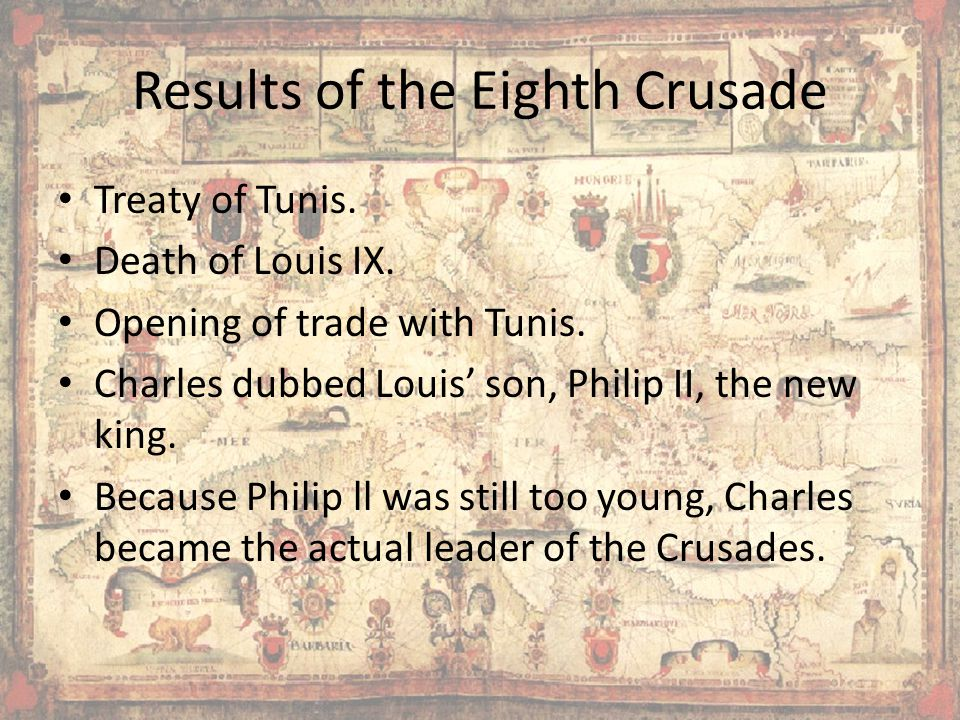 Results of the Eighth Crusade