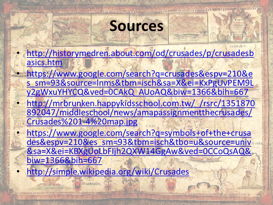 Sources http://historymedren.about.com/od/crusades/p/crusadesbasics.htm.