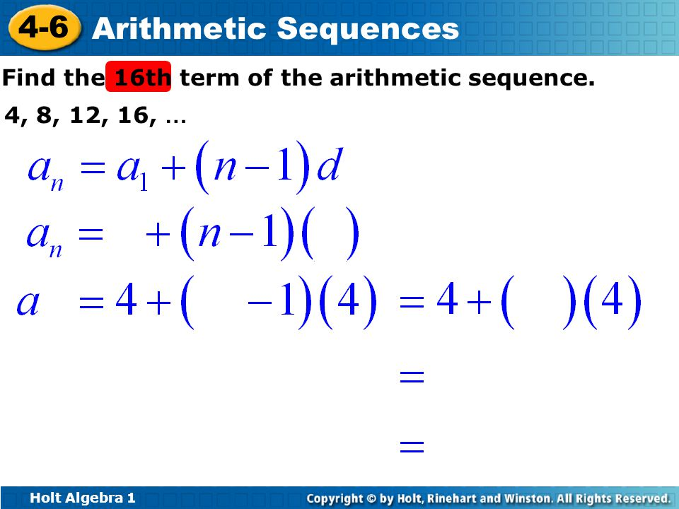 Find the 16th term of the arithmetic sequence.