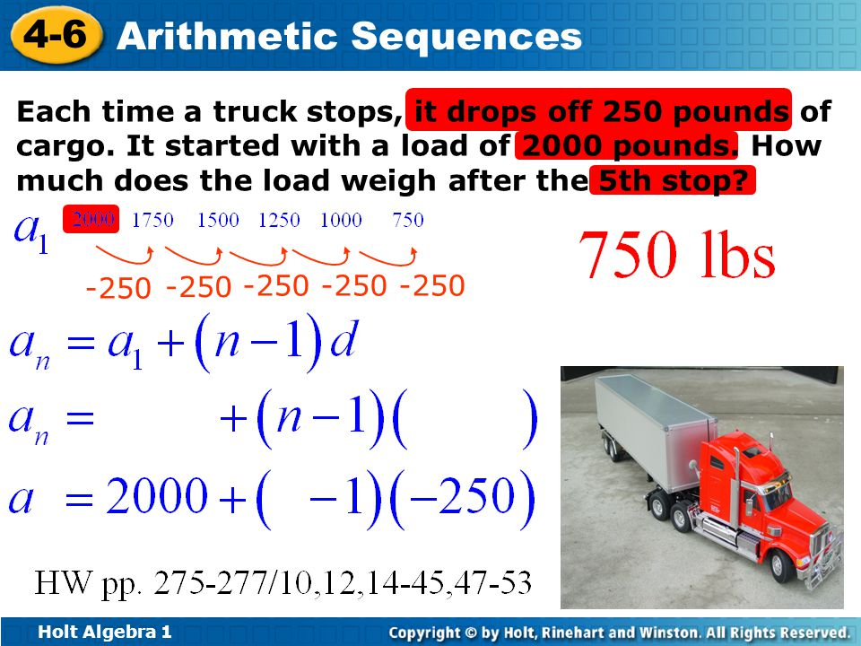 Each time a truck stops, it drops off 250 pounds of cargo