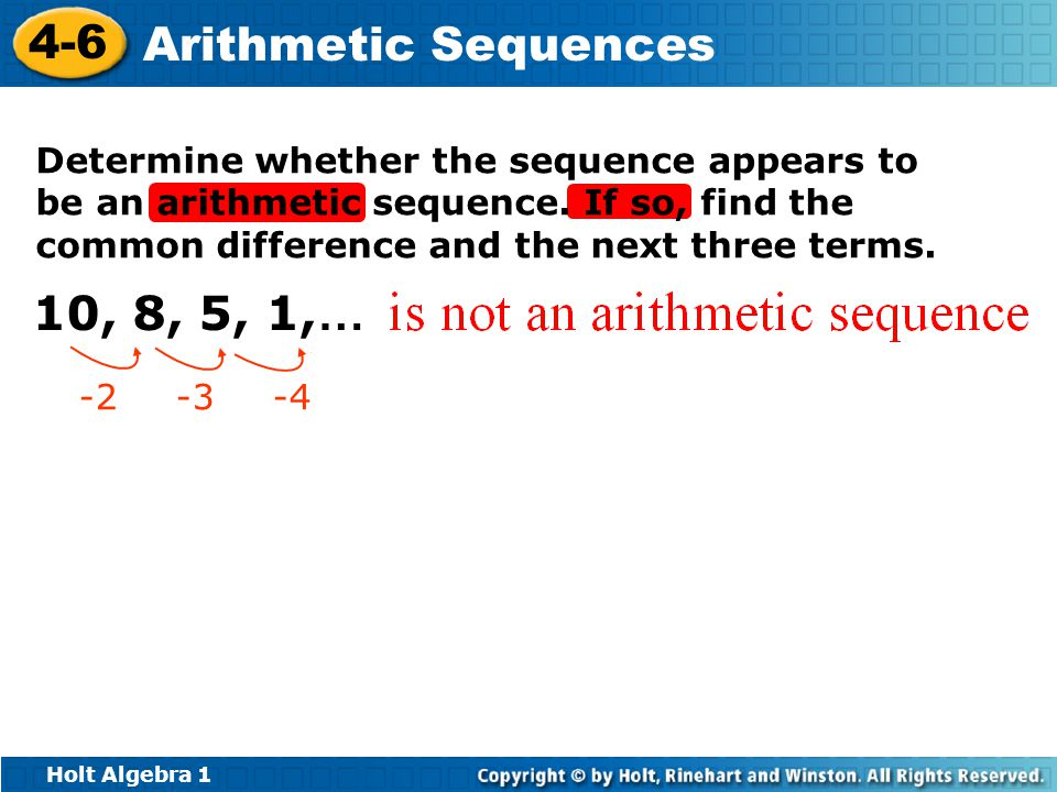 Determine whether the sequence appears to be an arithmetic sequence