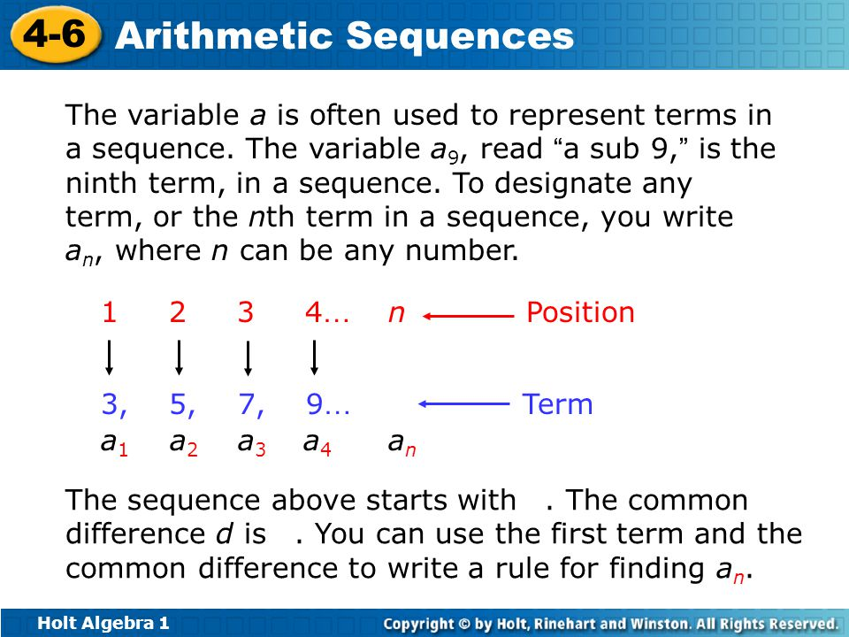 The variable a is often used to represent terms in a sequence
