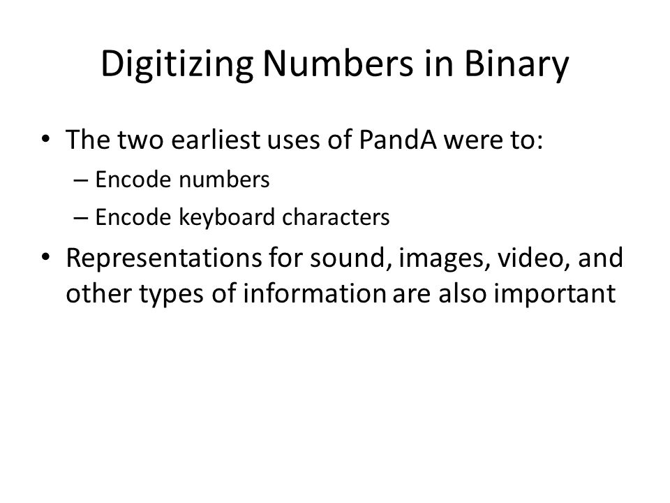 Digitizing Numbers in Binary