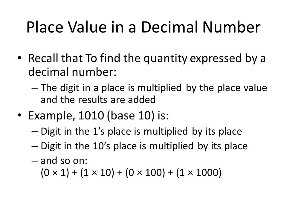 Place Value in a Decimal Number