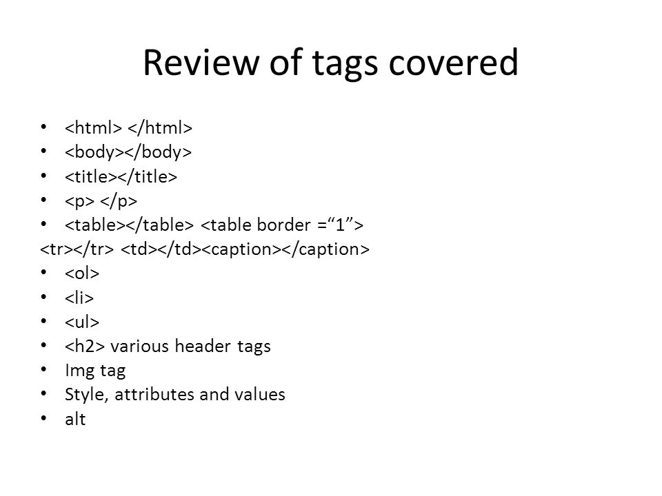 Review of tags covered <html> </html>