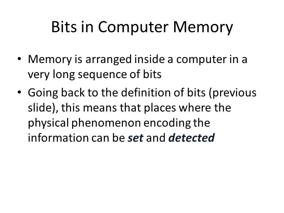 Bits in Computer Memory