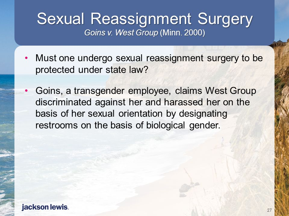 Sexual Reassignment Surgery Goins v. West Group (Minn. 2000)