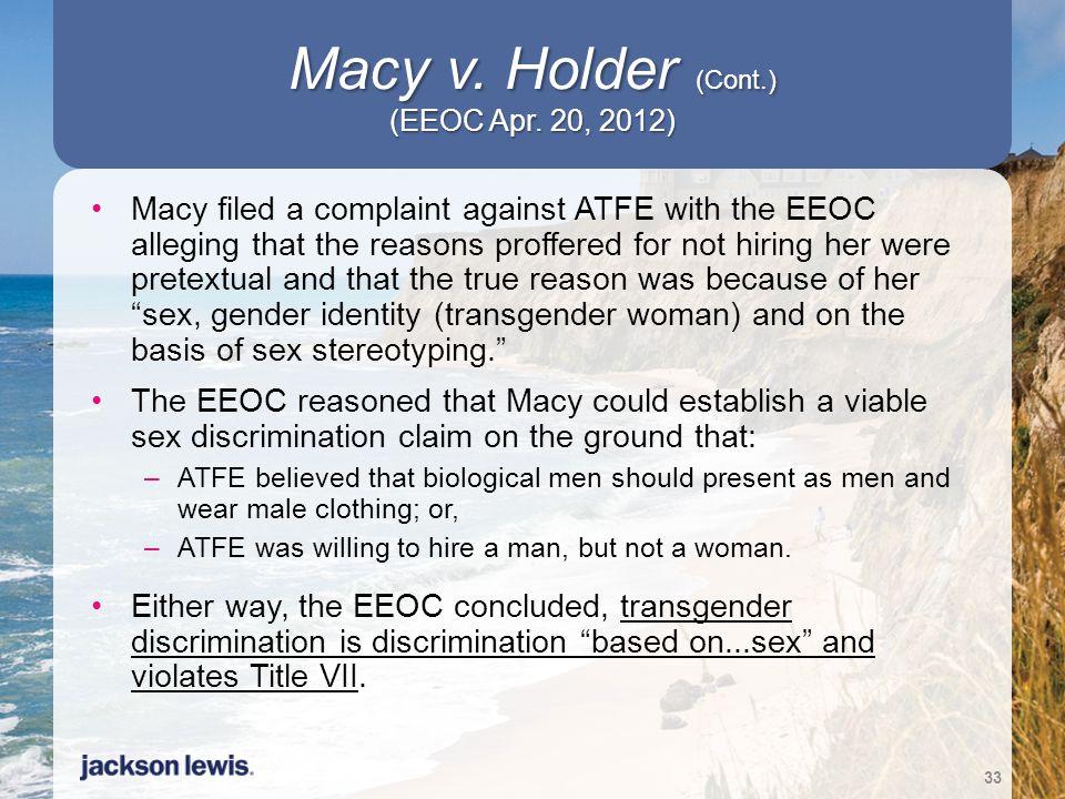Macy v. Holder (Cont.) (EEOC Apr. 20, 2012)