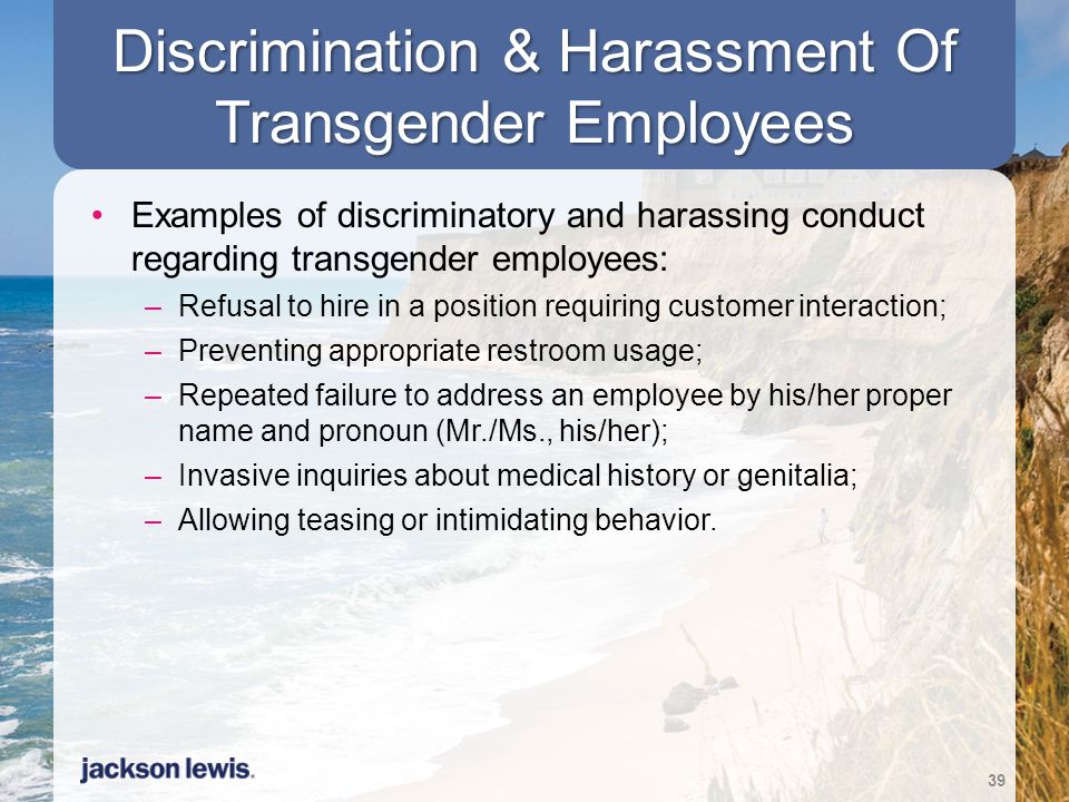 Discrimination & Harassment Of Transgender Employees