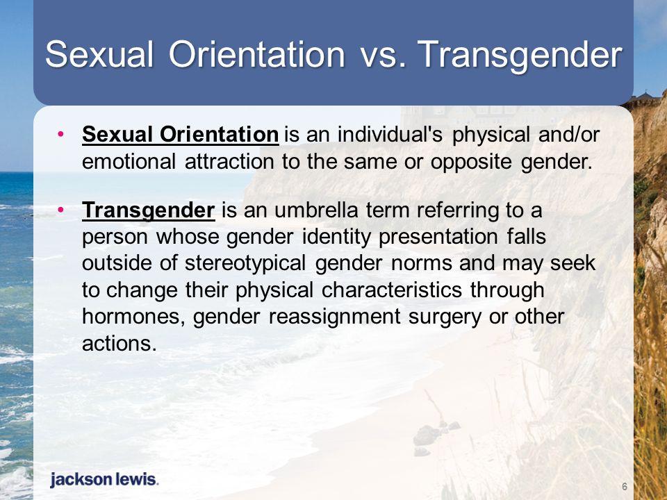 Sexual Orientation vs. Transgender