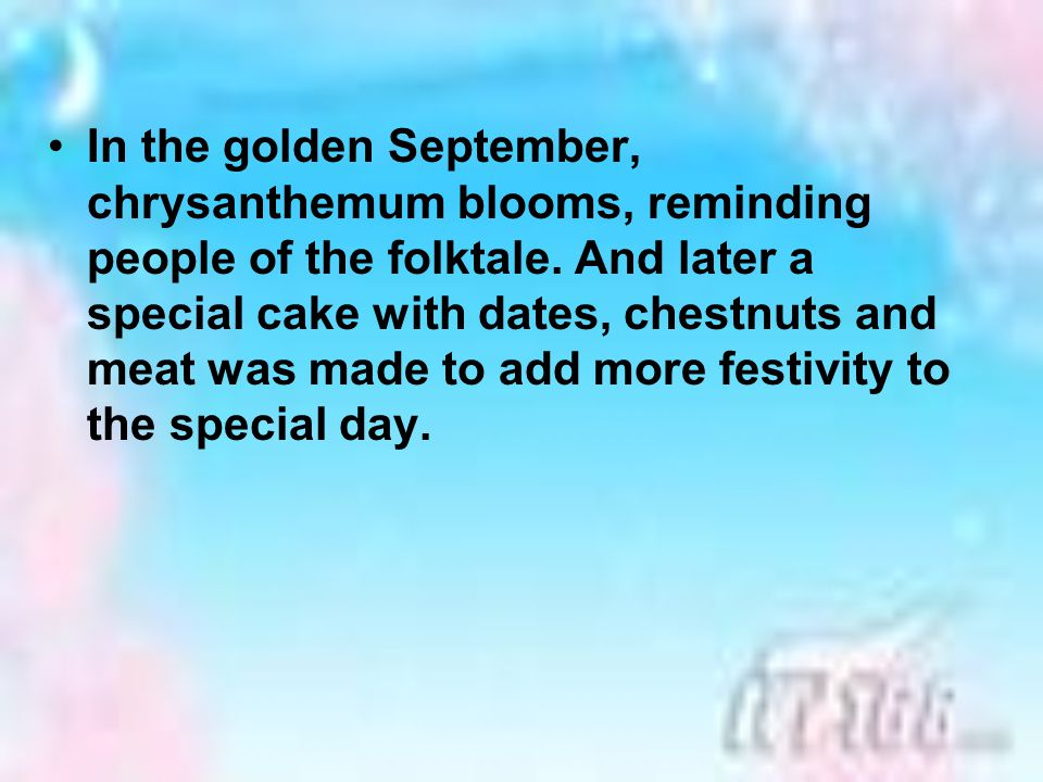 In the golden September, chrysanthemum blooms, reminding people of the folktale.