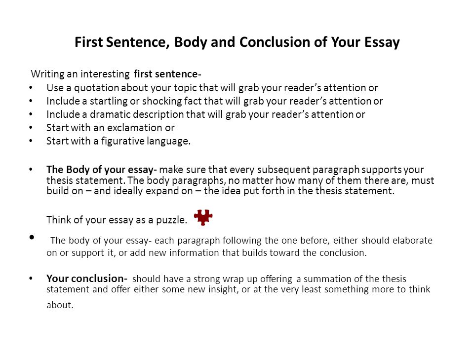 how to start off a body paragraph in an essay