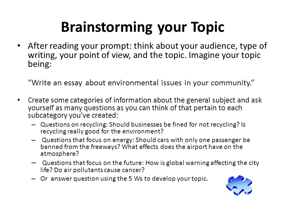 another part to an effective essay ppt video online 2 brainstorming your topic
