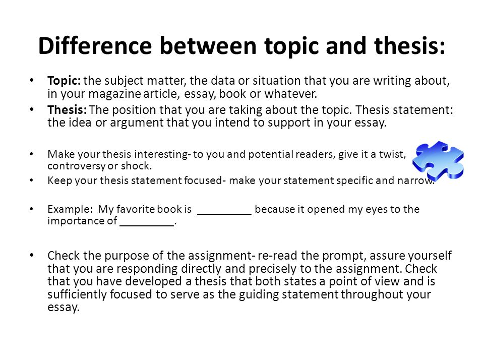 What Is the Difference Between Thesis and Topic?