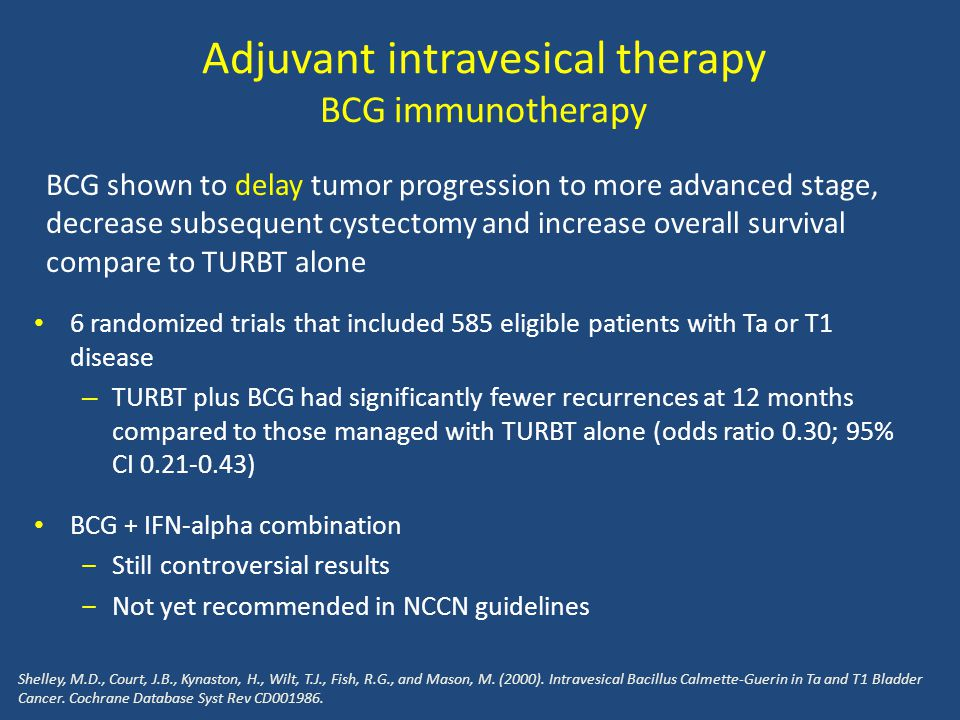 Adjuvant intravesical therapy BCG immunotherapy