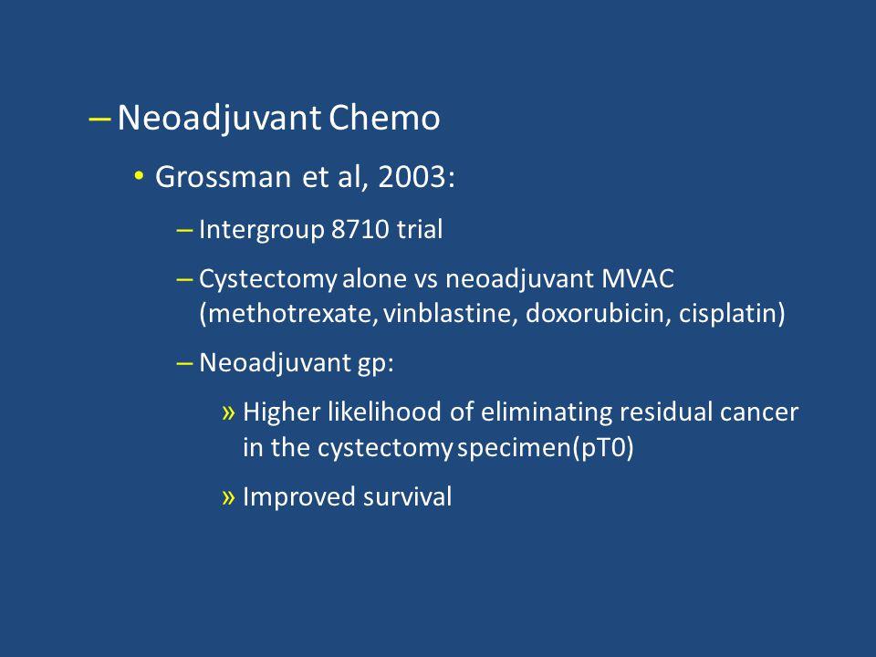 Neoadjuvant Chemo Grossman et al, 2003: Intergroup 8710 trial