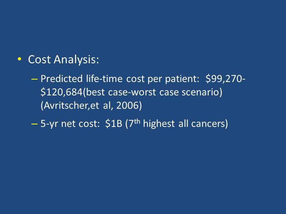 Cost Analysis: Predicted life-time cost per patient: $99,270- $120,684(best case-worst case scenario) (Avritscher,et al, 2006)