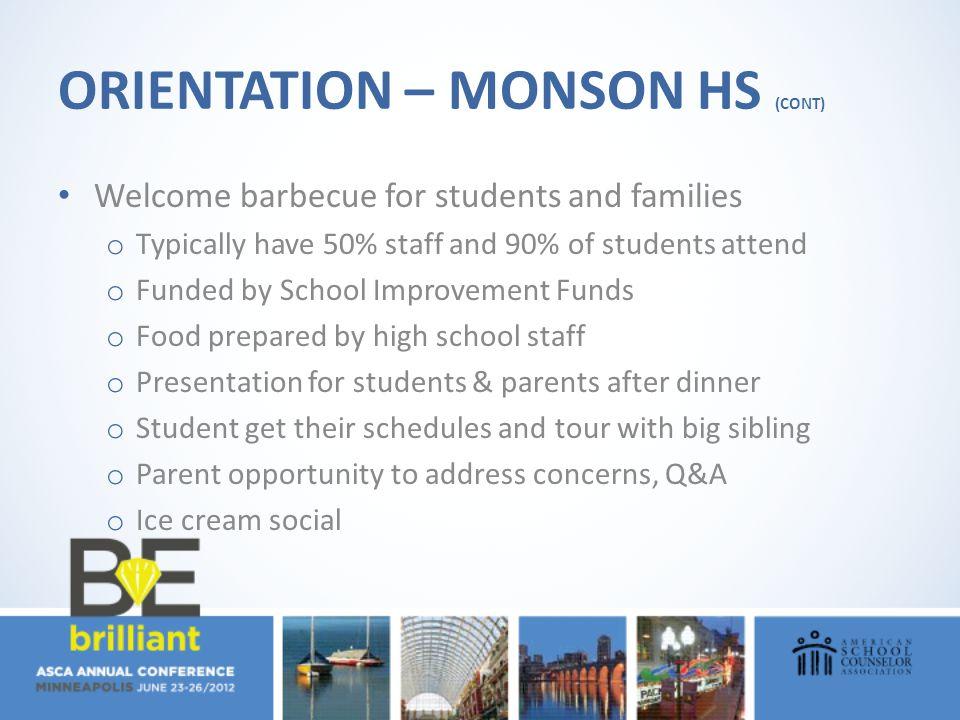 Orientation – Monson HS (cont)