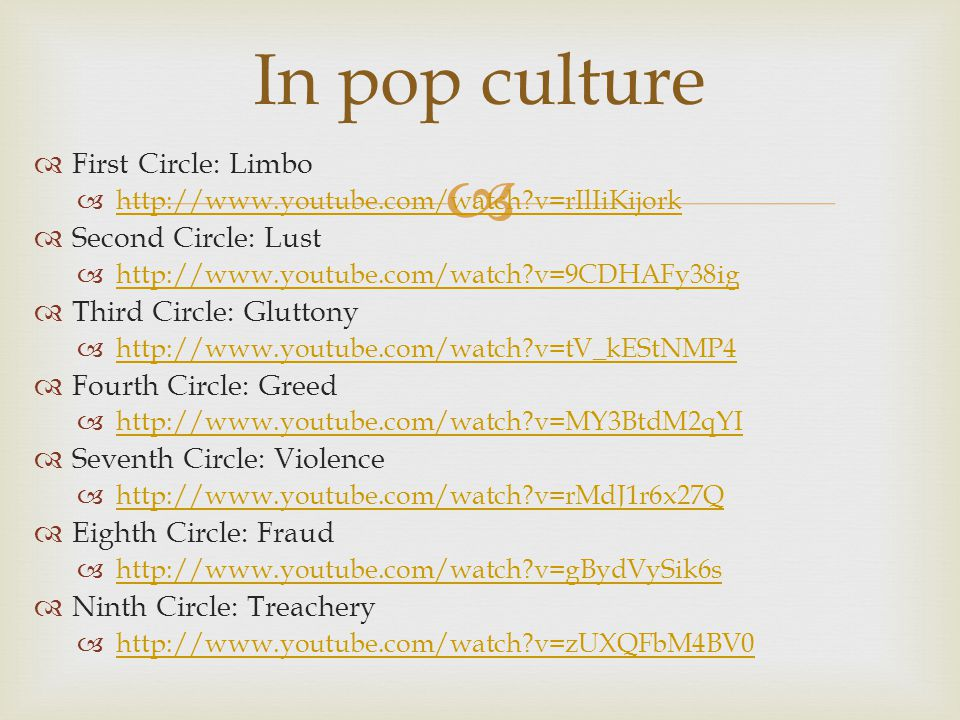 In pop culture First Circle: Limbo Second Circle: Lust
