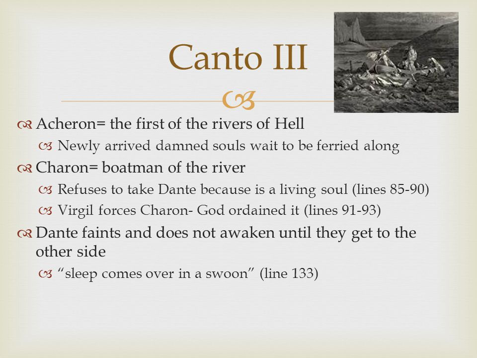 Canto III Acheron= the first of the rivers of Hell