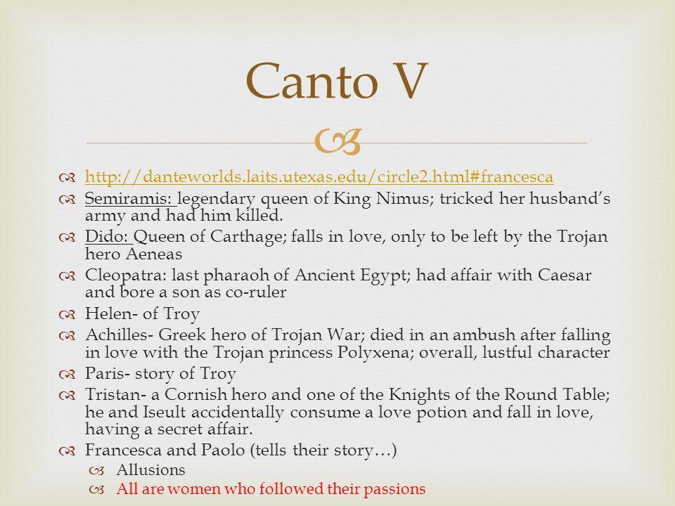 Canto V http://danteworlds.laits.utexas.edu/circle2.html#francesca