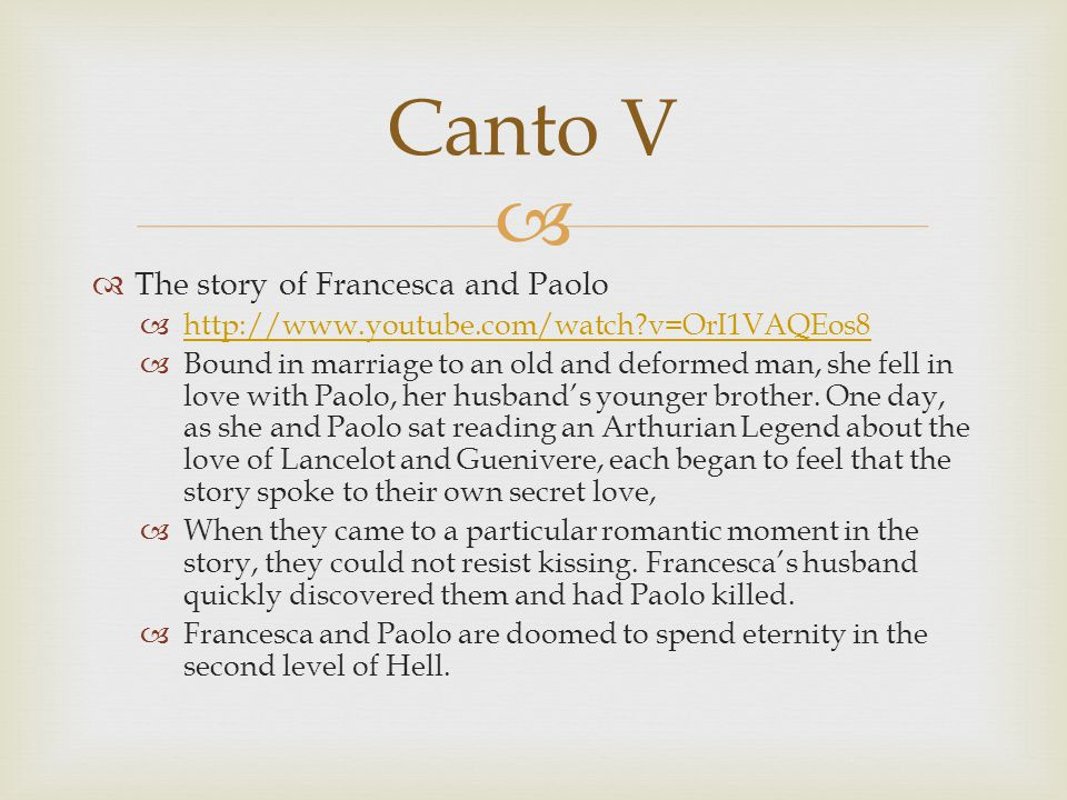 Canto V The story of Francesca and Paolo