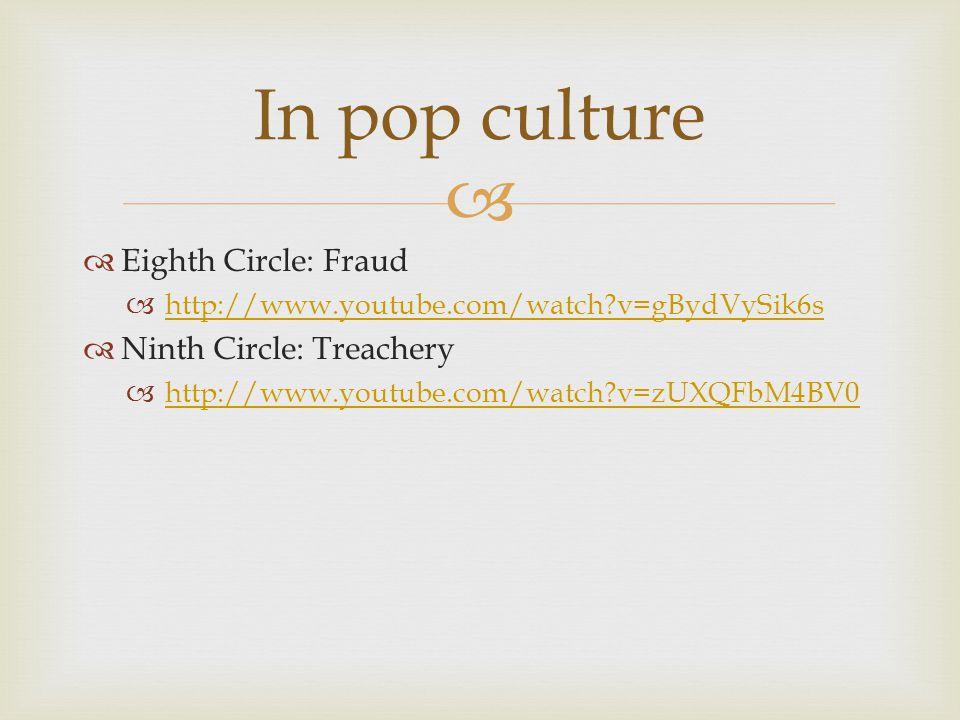 In pop culture Eighth Circle: Fraud Ninth Circle: Treachery