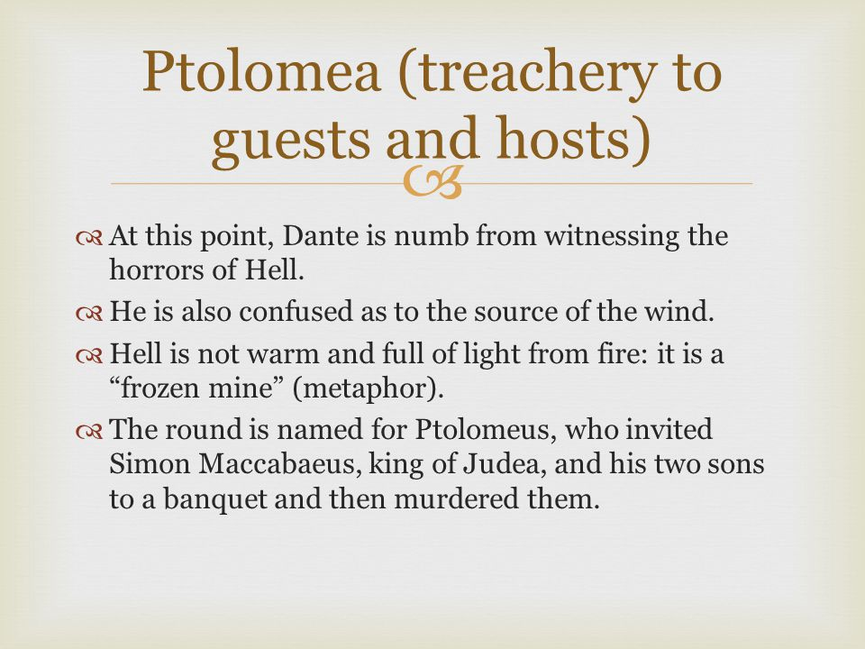 Ptolomea (treachery to guests and hosts)