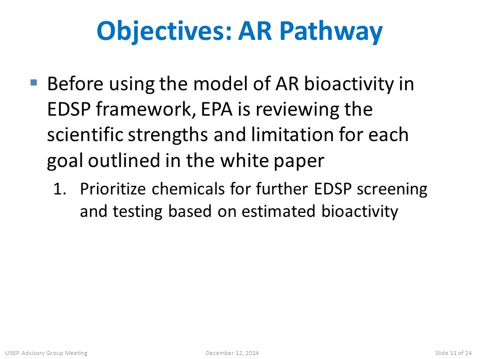 Objectives: AR Pathway