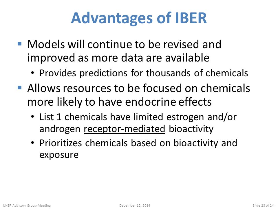 Advantages of IBER Models will continue to be revised and improved as more data are available. Provides predictions for thousands of chemicals.