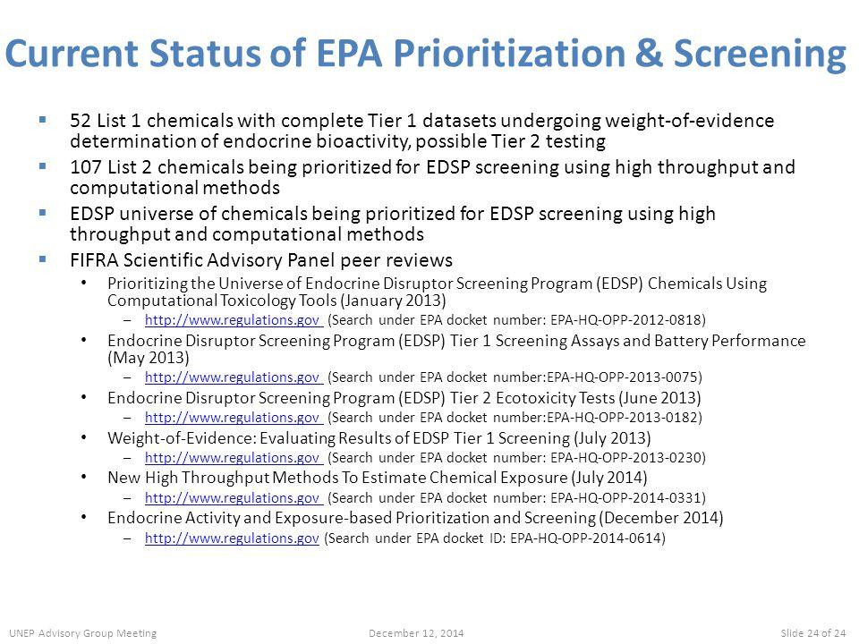 Current Status of EPA Prioritization & Screening