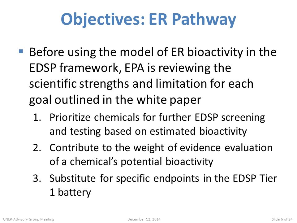 Objectives: ER Pathway