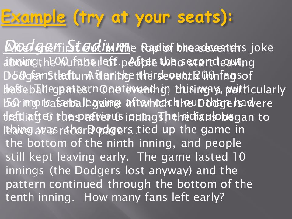 Example (try at your seats):