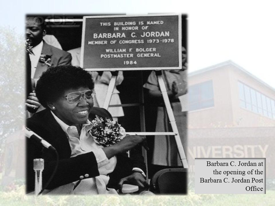 Barbara C. Jordan at the opening of the Barbara C. Jordan Post Office