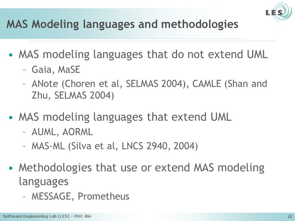 MAS Modeling languages and methodologies