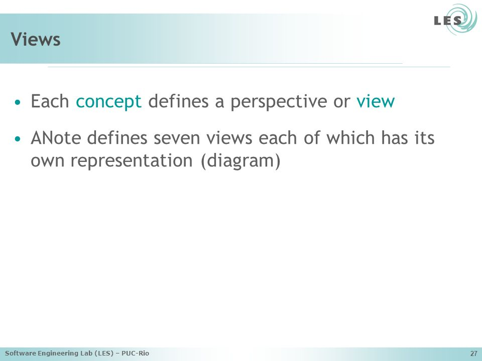 Each concept defines a perspective or view