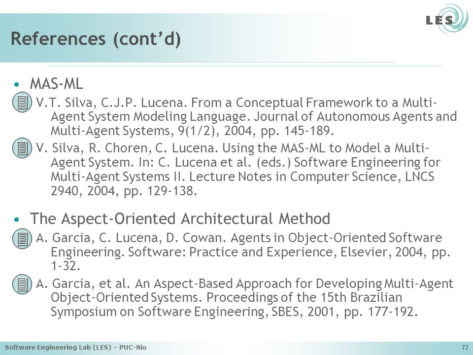 References (cont'd)     MAS-ML
