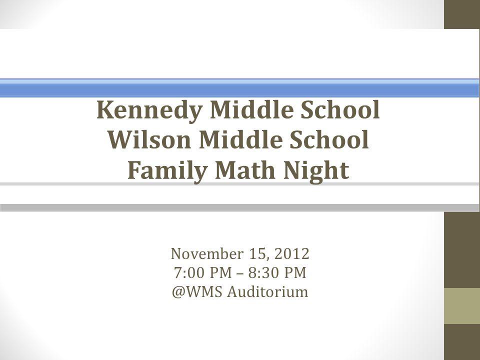 November 15, 2012 7:00 PM – 8:30 PM @WMS Auditorium