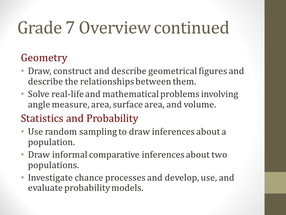 Grade 7 Overview continued