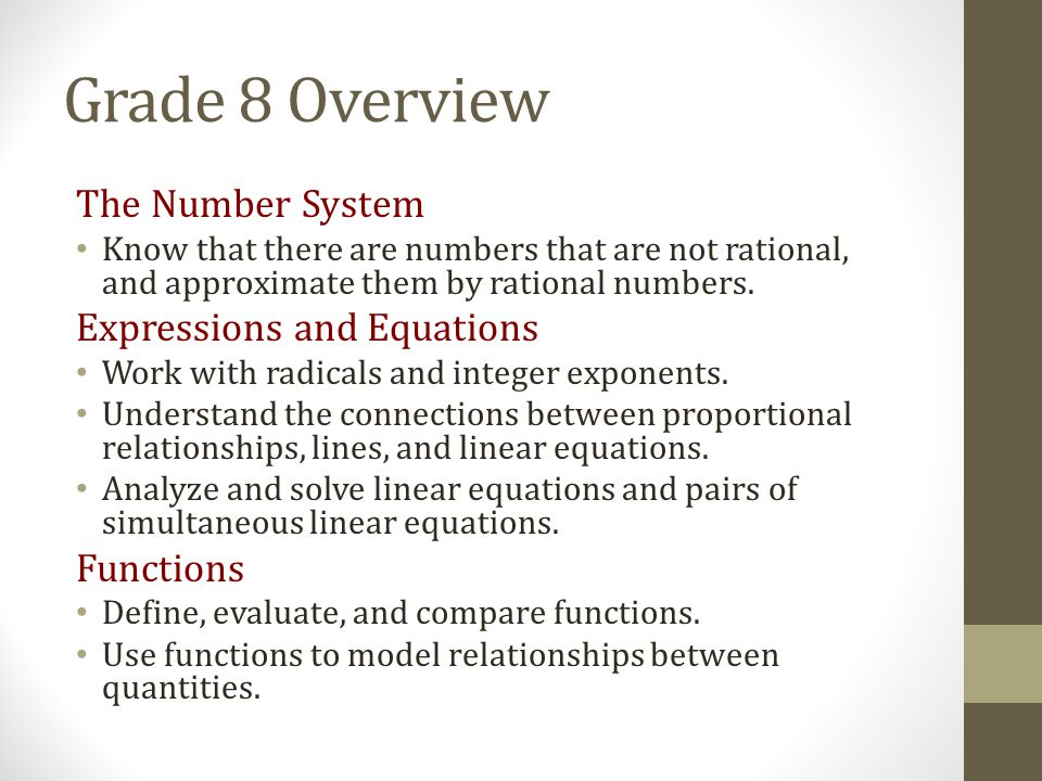 Grade 8 Overview The Number System Expressions and Equations Functions