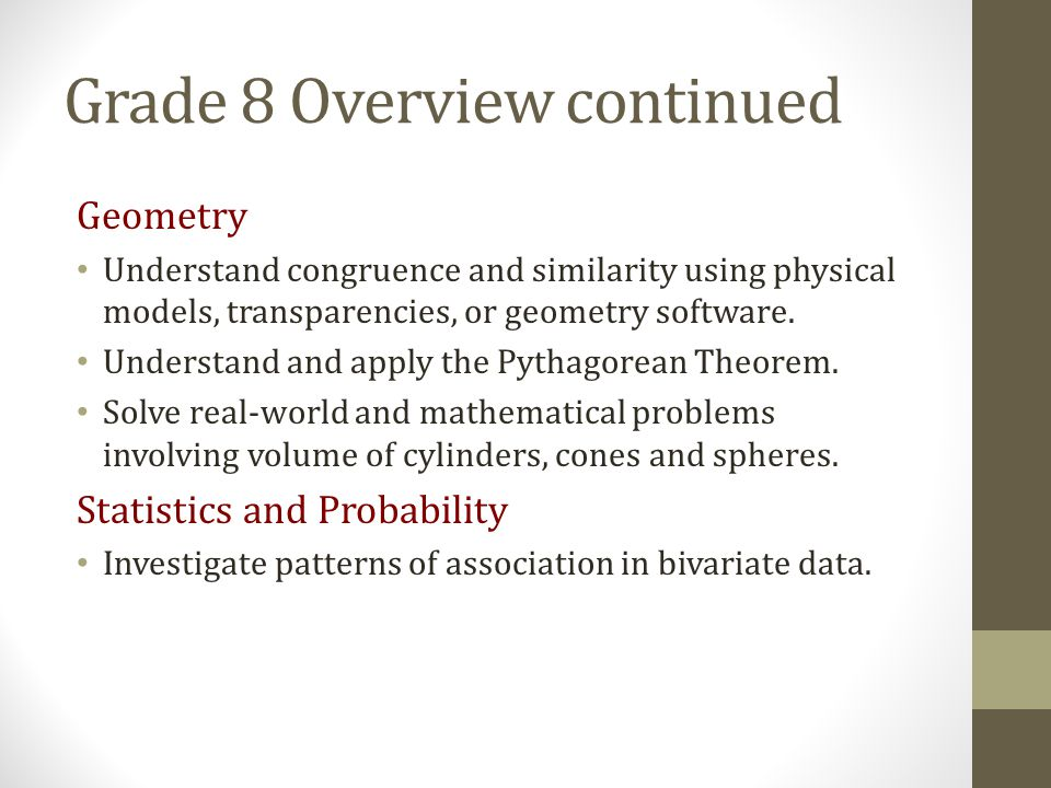 Grade 8 Overview continued
