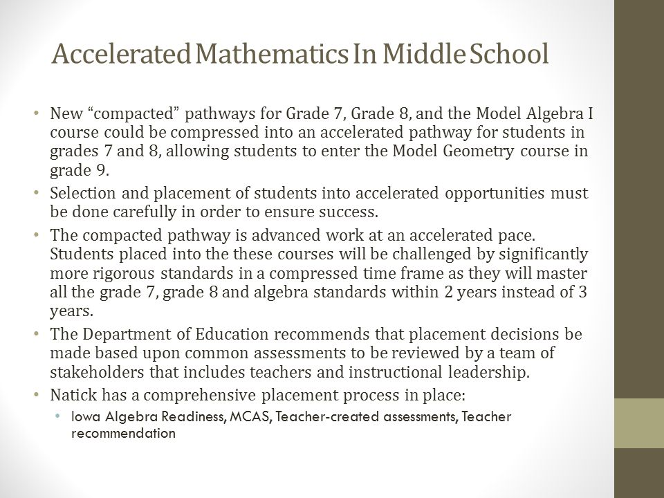 Accelerated Mathematics In Middle School